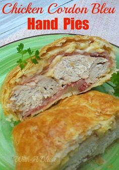 Chicken Cordon Bleu Hand Pies ~ Easy recipe for this popular Chicken Cordon Bleu served as a a Hand Pie {Hot Pocket} #SavoryPies #ChickenRecipe #CordonBleu