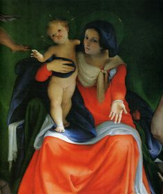 Lorenzo Lotto - Enthroned Madonna and Child with Angels and Saints. Detail. 1521. sea art and sun