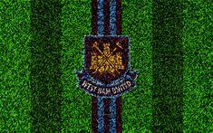 Download wallpapers West Ham United FC, 4k, football lawn, emblem, logo, English football club, green grass texture, Premier League, Stratford, London, England, United Kingdom, football