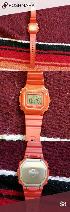UNISEX RED CASIO WATCH Casio watch, red. Stopwatch/alarm. Casio Accessories Watches