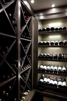 Masculine interior design contemporary wine cellar by Urban Abode