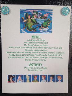 Peter Pan Menu - Peter Pan Movie Night - Disney Movie Night - Family Movie Night