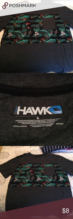 Men's Medium Tony Hawk T shirt Charcoal grey with floral pattern on the chest. Also has pocket. Great shape worn once. Tony Hawk Shirts Tees - Short Sleeve