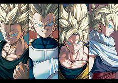 Trunks, Vegeta, Goku y Gohan by unknown author Goku And Vegeta, Son Goku, Dragon Ball Z, Dragonball Super, Arte Lowrider, Manga Dragon, Super Anime, Ball Drawing, Character Illustration