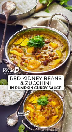 Red Kidney Beans & Zucchini in Pumpkin Curry Sauce - Veganlovlie Vegetarian Recipes Easy, Veggie Recipes, Indian Food Recipes, Dinner Recipes, Cooking Recipes, Healthy Recipes, Vegetarian Times, Dinner Menu, Brunch Recipes