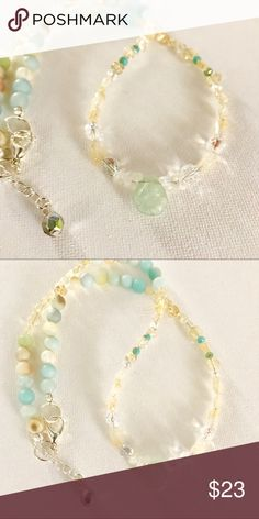 Aquamarine Necklace Beautiful dainty aquamarine tear drop is the focal point of this 17 inch necklace and it is friend citrine accompanies it perfectly. Jewelry Necklaces