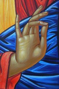 """Symbolism of the Blessing The fingers spell out """"IC XC"""", a widely used four letter abbreviation of the Greek for Jesus (IHCOYC) Christ (XPICTOC). It is by the name of Jesus that we are saved and receive blessings: """"At the name of Jesus every knee should bow, of things in heaven, and things in earth, and things under the earth;"""" (Phil 2:10). The three fingers of Christ – as well as spelling out """"I"""" and """"X"""" – confess the Tri-unity of God: Father, Son and Holy Spirit. The touching finger…"""
