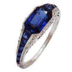 Art Deco TIFFANY Sapphire Diamond Platinum Ring  USA  1920s  Sapphire and diamond ring set in platinum by Tiffany and Company. Oh. My.
