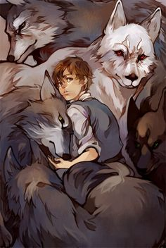 Arya Stark and direwolves.
