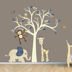 Cream Tree Decal Denim Color Boy Room Wall by StickItDecalDesigns