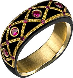 LADIES BAND WITH 24K GOLD INLAY AND RUBIES IN BLACK KNIGHTSTEEL™
