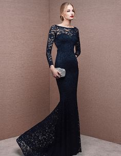Black Wedding Dresses For Bride 2016 Long Sleeve Lace Evening Dresses With  Mermaid Elegant Trumpet Party Dresses Long Slim Backless Evening Dress Buy  Online a2f8da8ca9d