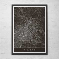 VIENNA CITY MAP Art Print - Vienna Map Print - High Quality Giclee Print Minimalist Art Print Customizable Vienna Austria City Map Ribba