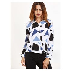 White Patchwork Curved Hem Blouse (41 ILS) ❤ liked on Polyvore featuring tops, blouses, curved hem top, white tops, patchwork top and white blouses