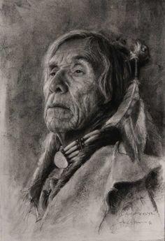 WISDOM OF THE ELDER by John Coleman Charcoal kp