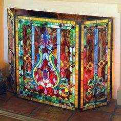 Tiffany Style Stained Glass Fleur de Lis Decorative Three Panel Fireplace Screen in Home & Garden, Home Improvement, Heating, Cooling & Air | eBay