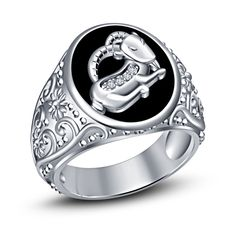 Platinum Plated Capricorn Zodiac Sign Men's Jewelry Ring With Simulated Diamond #br925 #CapricornZodiacRing