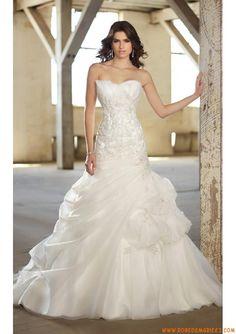 Robe de mariée glamour organza dentelle cristal