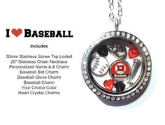 Baseball Stainless Steel Floating Charms Locket by LoveStoryCharms