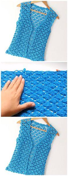 Crochet Vest Tutorial – Learn to Crochet - Stirnband Stricken Crochet Vest Pattern, Crochet Tunic, Crochet Jacket, Crochet Clothes, Knitting Patterns, Crochet Patterns, Crochet Vests, All Free Crochet, Learn To Crochet