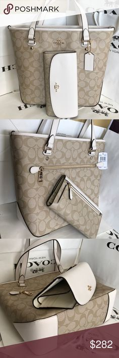 Coach Set 100% Authentic Coach Tote Bag and Wallet, both brand new!.color Light Khaki/Chalk. Coach Bags Totes