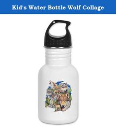 Kid's Water Bottle Wolf Collage. Product Number: 0001-1534259720 Perfect for school lunches or soccer games, our kid's stainless steel water bottle quenches children's thirst for individuality. Personalized for what kids love, it's both eco-friendly and compact. Made of 18/8, food-grade stainless steel. * No lining & no BPA or other toxins * Wide mouth for easy drinking * Durable, BPA-free & phalate-free screw-on top * Holds 0.35L (nearly 12 ounces) * Thin profile to fit most cup holders…
