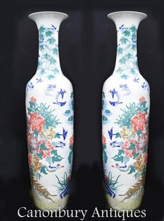 Canonbury - Pair XL Chinese Porcelain Imperial Qing Temple Vases Urns