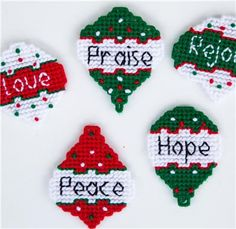 Everything Plastic Canvas - Christmas Words Ornaments