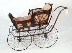 12: ANTIQUE WICKER STROLLER Vintage Stroller, Prams, Antique Dolls, Vintage Antiques, Wicker, Baby Strollers, Victorian, Pink, Auction