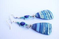 boucle d oreille tortue pendante motif vague bleu abstrait bijou marin : Boucles d'oreille par cocoflower