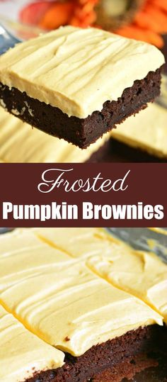 Frosted Pumpkin Brownies. These rich, soft and moist dark chocolate pumpkin brownies are topped with smooth, creamy pumpkin cream cheese frosting. Perfect easy fall dessert. #brownies #chocolate #pumpkin #frosted #homemade #frosting #creamcheesefrosting #dessert Fall Desserts, Just Desserts, Delicious Desserts, Keto Desserts, Brownie Recipes, Cookie Recipes, Dessert Recipes, Yummy Treats, Sweet Treats
