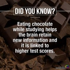 weird psychology facts awesome psychology facts: eating chocolate while studying helps the brain retain new information and it is linked to higher test scores. True Interesting Facts, Interesting Facts About World, Intresting Facts, Psychology Fun Facts, Psychology Says, Psychology Quotes, Brain Facts, Science Facts, Life Science