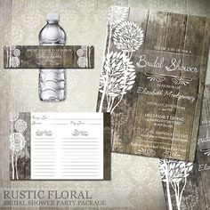 Rustic Wood Bridal Shower Invitations, Recipe Cards, Water Bottle Labels - Digital File Printable - Wedding Shower Invitations on Etsy, $32.09 AUD