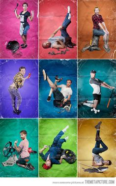 Men photographed in stereotypical pin-up poses…  this made me giggle
