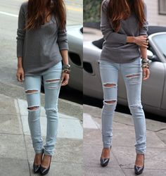 Ripped baby blue jeans with silver shoes and accessories - ripped can be sexy!