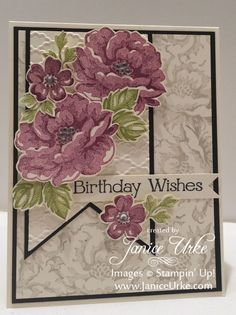 stampin up stippled blossoms Birthday Cards For Women, Happy Birthday Cards, Birthday Wishes, Stampin Up, Altenew Cards, Hand Stamped Cards, Stamping Up Cards, Flower Cards, Creative Cards