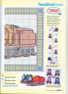 Thomas the Train 2 of 2 color Cross Stitch For Kids, Cross Stitch Baby, Cross Stitch Charts, Cross Stitch Designs, Cross Stitch Patterns, Beaded Cross Stitch, Crochet Cross, Cross Stitch Embroidery, Embroidery Patterns