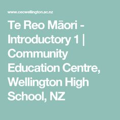 Te Reo Māori - Introductory 1 | Community Education Centre, Wellington High School, NZ Community Education Center, School Community, Wellington High School, Centre, Knowledge, Study, Maori, Consciousness, Studio