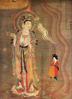 Tang, Bodhisattva (Guanyin) as Guide of Souls, banner painted in ink and colors on silk, from Dunhuang Cave 17 Mogao. Bodhisattva of Compassion. Dunhuang, Chinese Buddhism, Buddhist Art, Ancient China, Ancient Art, Amitabha Buddha, Art Chinois, Art Asiatique, China Art