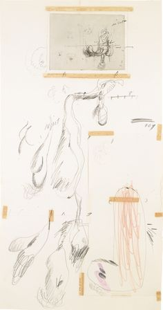 Cy Twombly 1928 - 2011 UNTITLED pencil and collage on paper 86.9 by 45.4cm.; 34 7/8 by 18 3/4 in. Executed in 1968.
