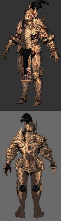 Ornate heavy plate armor, lots of accents. Gold plated..?