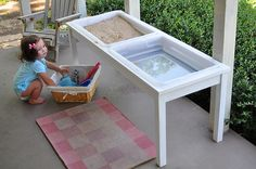 homemade sand and water table using storage totes so the lids can snap on. Better idea then a sandbox cats can use as a litter box! Water Table Diy, Sand And Water Table, Water Tables, Diy Table, Kids Sand Table, Craft Activities For Kids, Projects For Kids, Diy For Kids, Indoor Activities