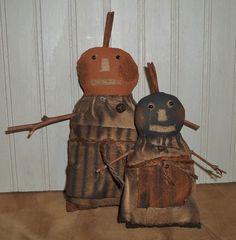 Primitive Grungy Olde-Time Jacks Halloween Pumpkin Girls Doll Set #NaivePrimitive