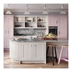 Rose Quartz Serenity Kitchens in Pantone's Colors of the Year ❤ liked on Polyvore featuring interior