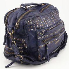 Iatlienische echt Leder Handtasche Ledertasche Used Look Vintage Nieten Italien Josual Blau groß www.styleup.eu