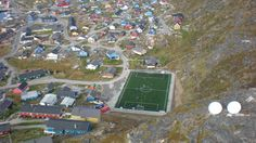 footynions:  Breathtaking aerial shot of Greenland's first artificial pitch in Qaqortoq province.