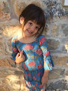 Happy Ibiza flower boho girl dress made with hand block print and crochet