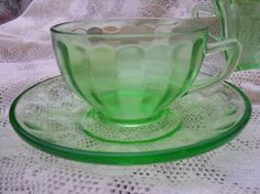 Vintage Green Depression Glass Cups and by VintagePackratQueen, ETSY, ✿ pin by Colette's Cottage ✿