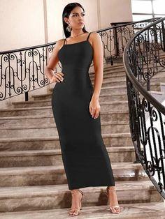 Black Maxi Bodycon Dress With Split Hem – Divas Fashions Dress P, Bodycon Dress, Maxi Dresses, Black Maxi, Diva Fashion, Rib Knit, Cami, Bodice