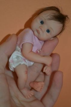 "Original Art OOAK Polymer Clay baby doll girl 5"" Simona by Yulia Shaver"